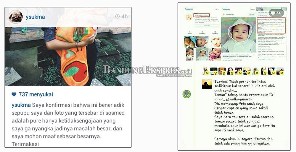 KHAWATIR: Foto kanan, postingan Path Sabrina, seorang ibu asal Bandung yang foto anaknya diunggah di akun jual bayi. Foto kiri, isi klarifikasi akun @ysukma.
