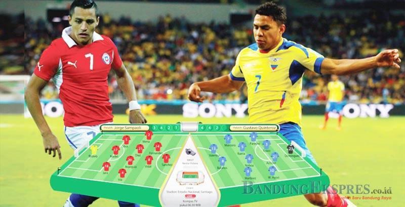 ISTIMEWA KEJAR POIN: Kedua tim dipastikan saling ngotot untuk mendulang gol. Pasalnya beberapa kali pertemuan, baik Chile atau Ekuador kerap berakhir tanpa berbuah gol. Laga nanti akan menentukan kedua tim