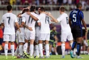 TERTUNDUK: Pemain Inter Milan Jesus, tertunduk lesu usai gawangnya kembali kebobolan oleh Real Madrid, dalam International Champions Cup (IIC) 2015 3-0 tanpa balas. kemarin, (27/7).