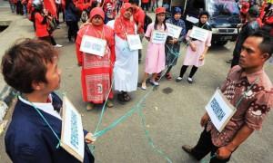 Aksi Buruh peringati hari Perempuan seduinia