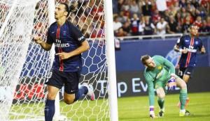 ISTIMEWA SELEBRASI: Striker PSG Zlatan Ibrahimovic merayakan golnya ke gawang Manchester United yang di kawal De Gea.