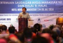 BERI ARAHAN: Wakil Presiden RI HM Jusuf Kalla berpidato dihadapan peserta Pertemuan Saudagar Bugis Makassar (PSBM) XVI di Hotel Novotel Makassar, Senin 25 Juli.