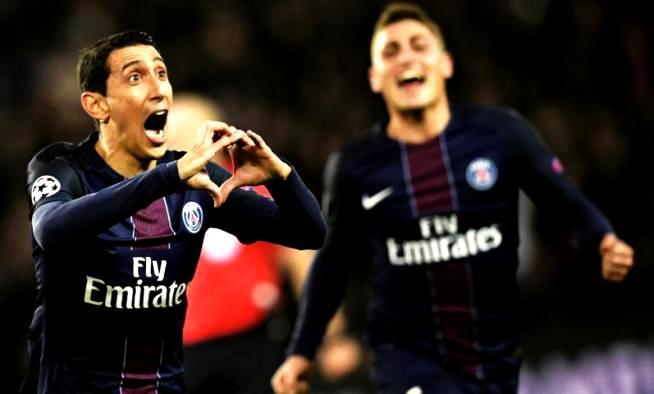 SELEBRASI: Angel Di Maria tampil luar biasa dia mampu membobol gawang Barcelona dua gol, dua gol lainnya lewat Julian Drazler dan Edinson Cavani.