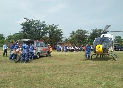 Lanud Suryadarma Simulasi Bantuan dan Evakuasi Korban