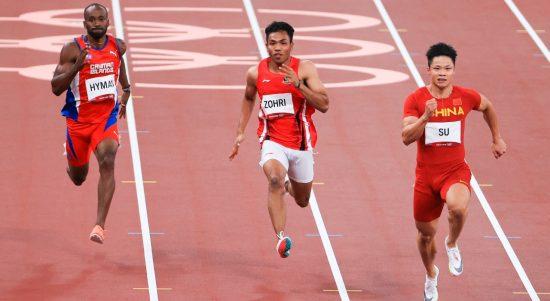 Sprinter muda andalan Indonesia Lalu Muhammad Zohri beradu cepat pada ajang cabor atlettik sprint 100 m putra Olimpiade Tokyo 2020