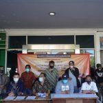 Aliansi Pedagang Kota Bandung saat melaksanakan jumpa pers, Minggu (25/7).