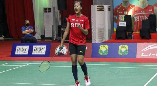 Tunggal Indonesia Putri Kusuma Wardani (Putri KW) akan melawan pemain Denmark Mia Blichfeldt pertandingan terakhir Grup C Piala Sudirman 2021. (PP PBSI)