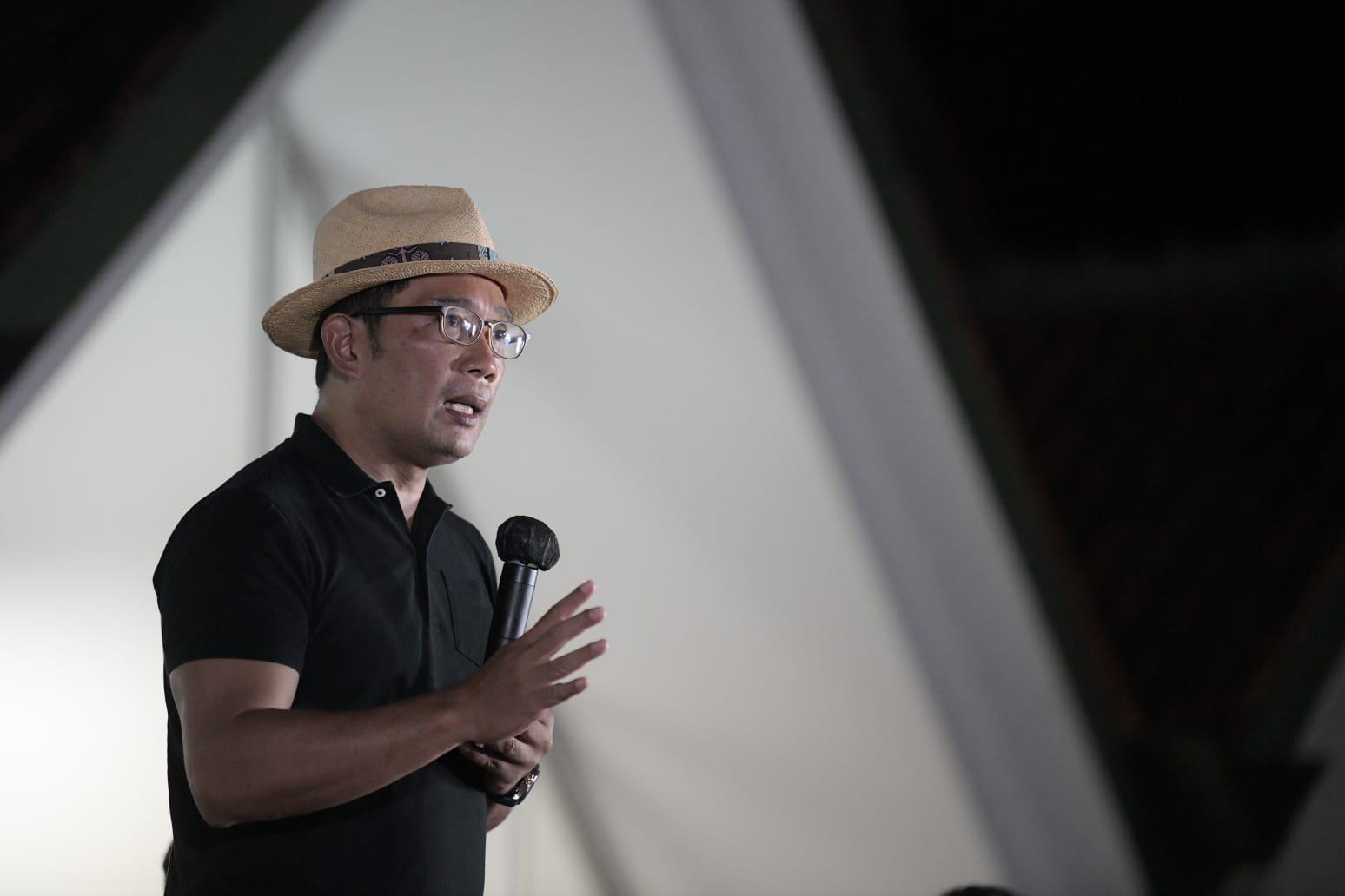Gubernur Jabar Ridwan Kamil memberikan sambutan dalam peresmian Gedung Ahmad Juara