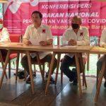 Jajaran penguru Projo ketika memberikan keterangan untuk pelaksanaan percepatan vaksinissi di Jawa Barat