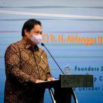 Menteri Bidang Perekonomian Airlangga Hartarto ketika menjadi narasumber sebuah seminar