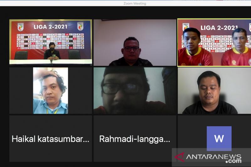 Tangkapan layar konferensi pers daring sebelum laga Semen Padang vs PSMS Medan dalam lanjutan Liga 2 2021 di Palembang. ANTARA/ Mario Sofia Nasution.