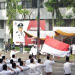 Situasi upacara peringatan Hari Santri 2021 di Apel Pemkot Cimahi, Jumat (22/10)(Intan Aida/Jabar Ekspres)