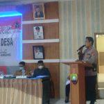 Kapolsek Cimanggung, Kompol Herdis Suhardiman saat berikan pesan serta imbauan terkait pilkades di Desa Pasirnanjung, beberapa waktu lalu.