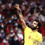 Selebrasi pemain Liverpool Mohamed Salah setelah cetak gol dalam pertandingan Grup B Liga Champions lawan Atletico Madrid di Wanda Metropolitano, Madrid, Spanyol pada 20 Oktober 2021. ANTARA/REUTERS/SERGIO PEREZ
